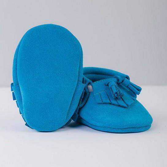 Mokasynki z dzwoneczkiem błękitne
