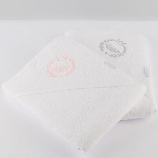 Zestaw ręczników z różowym i szarym haftem