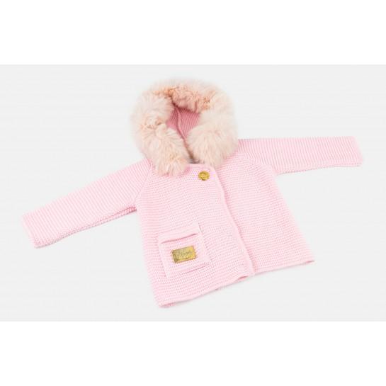 Sweter Tkany - Różowy