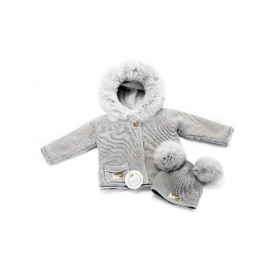 Sweter Tkany - Jasno szary