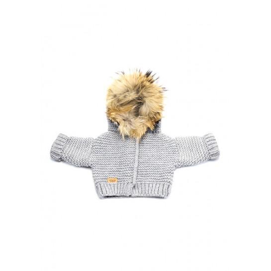 Sweter Ręcznie Tkany z futrem sztucznym - szary