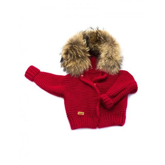 Sweter Ręcznie Tkany z futrem - czerwony