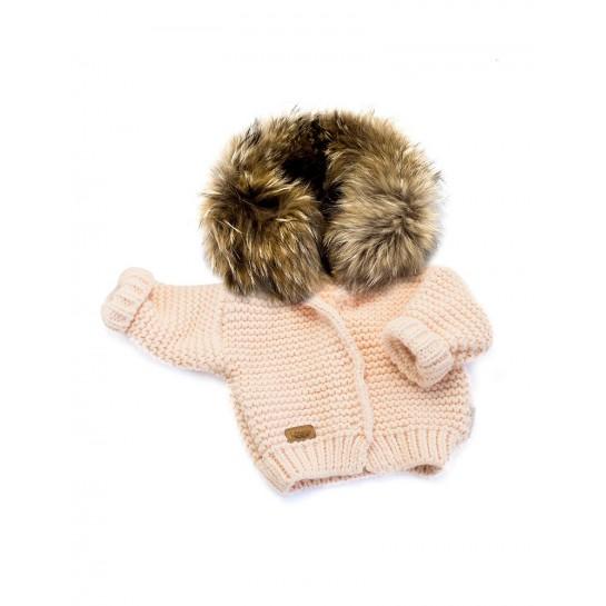 Sweter Ręcznie Tkany z futrem sztucznym - różowy