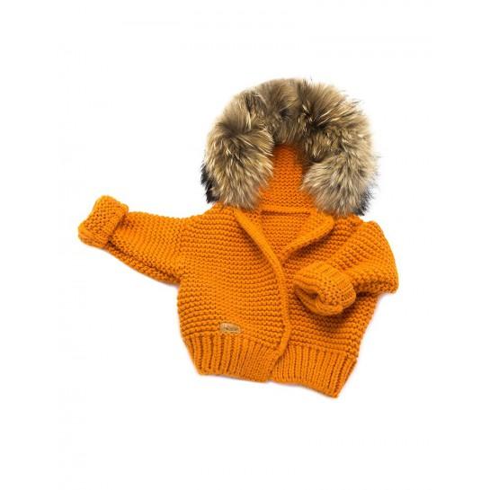 Sweter Ręcznie Tkany z futrem sztucznym pomarańczowy
