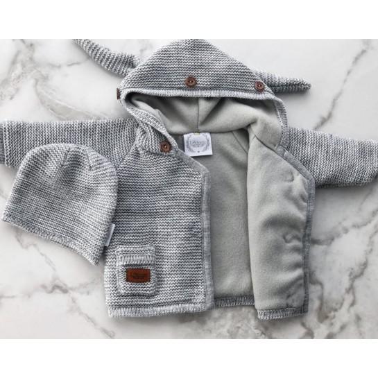 Kurtka sweterek z polarem - pudrowy róż - sztuczne futerko