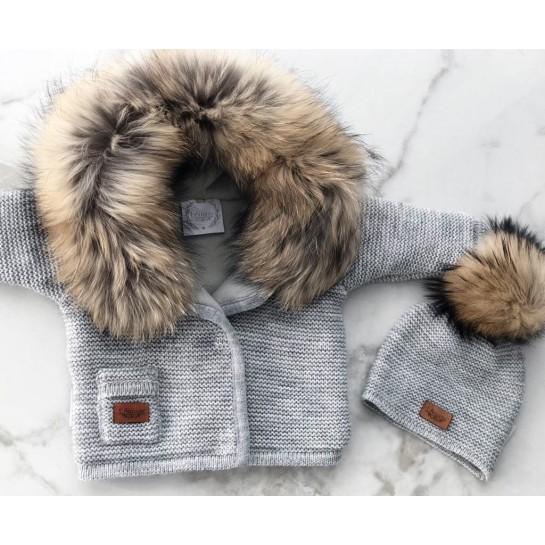 Kurtka sweterek z polarem - pudrowy róż - naturalne futerko