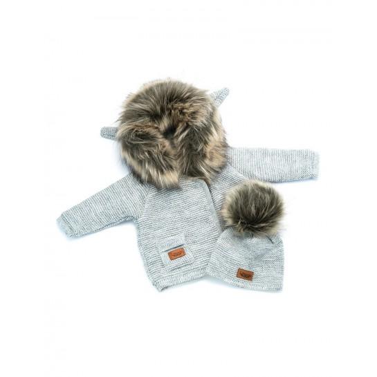 Kurtka sweterek z polarem - szary - sztuczne futerko
