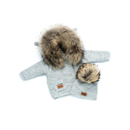 Kurtka sweterek z polarem - szary - naturalne futerko