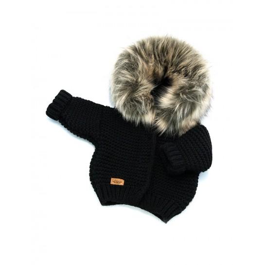 Sweter Ręcznie Tkany z futrem - czarny