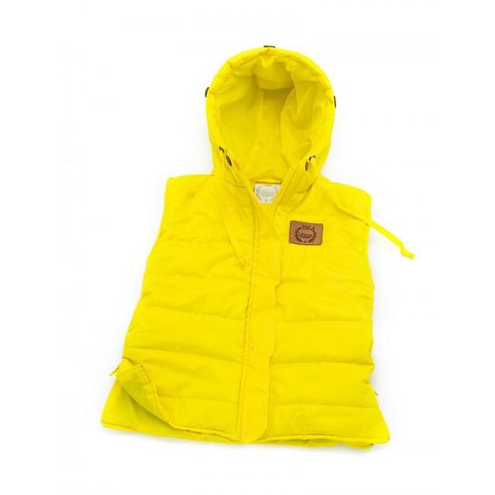 Kamizelka  dziecięca  Żółta, naturalne futro
