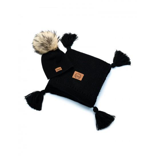 Zestaw Baby Alpaca, kocyk + czapka, czarny, naturalne futerko ,