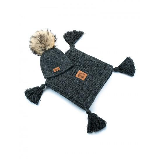 Zestaw Baby Alpaca, grafitowy, kocyk + czapka, naturalne futerko ,