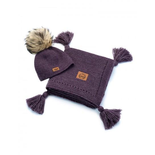 Zestaw Baby Alpaca, lavenda, kocyk + czapka, naturalne futerko ,