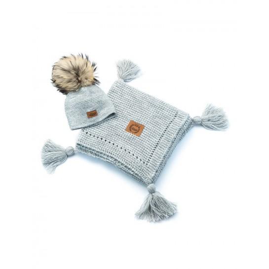 Zestaw Baby Alpaca, szary, kocyk + czapka, naturalne futerko ,