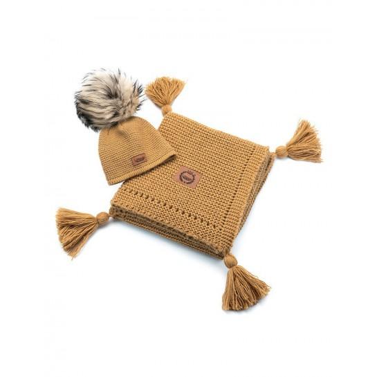 Zestaw Baby Alpaca,miodowy, kocyk + czapka, naturalne futerko ,