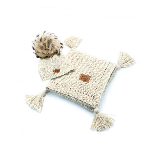Zestaw Baby Alpaca, beżowy , kocyk + czapka, naturalne futerko ,