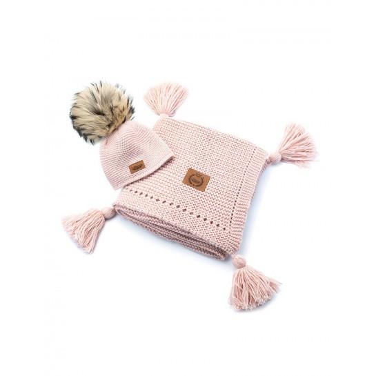 Zestaw Baby Alpaca, pudrowy róż, kocyk + czapka, naturalne futerko ,