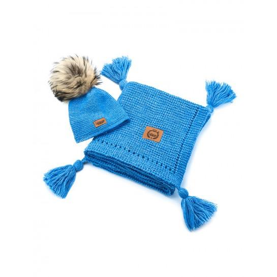 Zestaw Baby Alpaca, niebieski,, kocyk + czapka, naturalne futerko ,