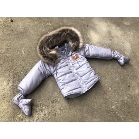 Kurtka Zimowa z Rękawiczkami- Niebieska