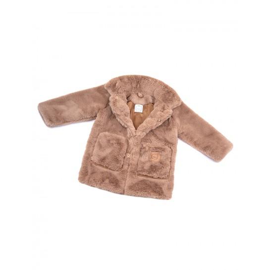 Płaszczyk - kolor Khaki - sztuczne futerko