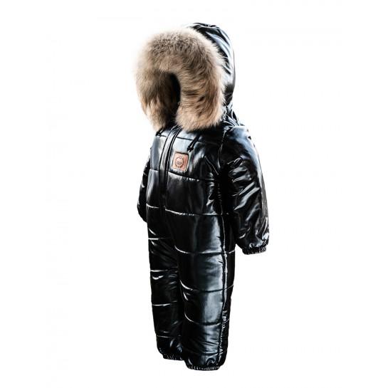Kombinezon niemowlęcy zimowy ,zimowy LAttante  z odpinanymm naturalnym futerkiem- czarny
