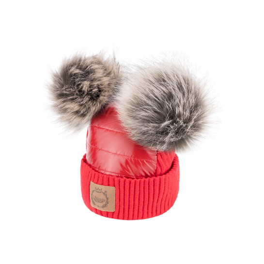 Czapka Zimowa - Czerwona- sztuczne futerka
