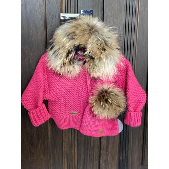Kurtka/sweter z futrem sztucznym - kolor fuksja