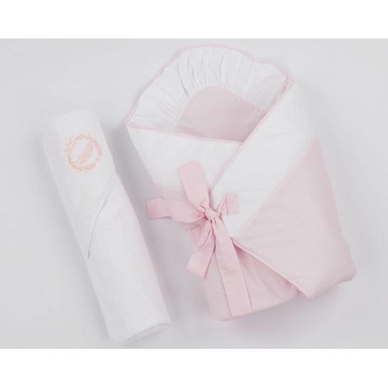 Becik z okryciem kąpielowym różowe