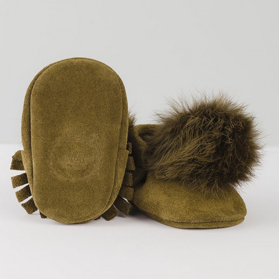 """Khaki moccasins """"made with love"""""""