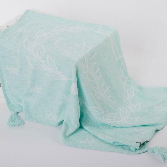 Kocyk tkany miętowy (narzuta)