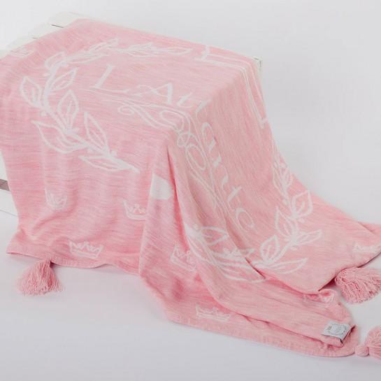 Kocyk tkany różowy (narzuta)